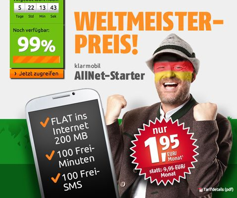 Crash Tarife Genial! Klarmobil Allnet Starter Tarif für 1,95€ monatlich   200MB Internet, 100 Frei Minuten, 100 Frei SMS   Update!