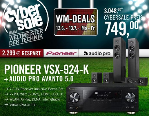 Cyberport Cybersale Pioneer VSX 924 K 7.2 Netzwerk Receiver mit WLAN + Audio Pro Avanto 5.0 Lautsprechersystem für 749€ (statt 1.150€)