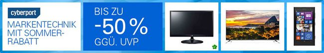 Cyberport eBay Cyberport Markentechnik mit Sommer Rabatt   bis zu 50% Rabatt gegenüber UVP