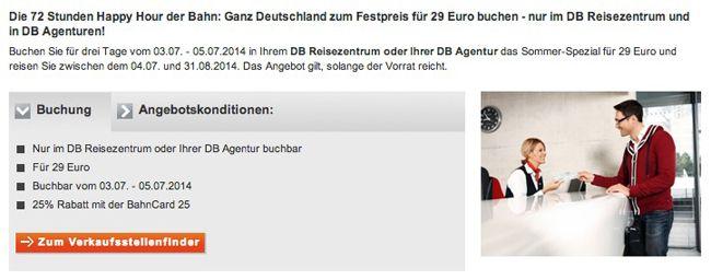 Deutsche Bahn Sommer Spezial: je Strecke durch Deutschland nur 29€