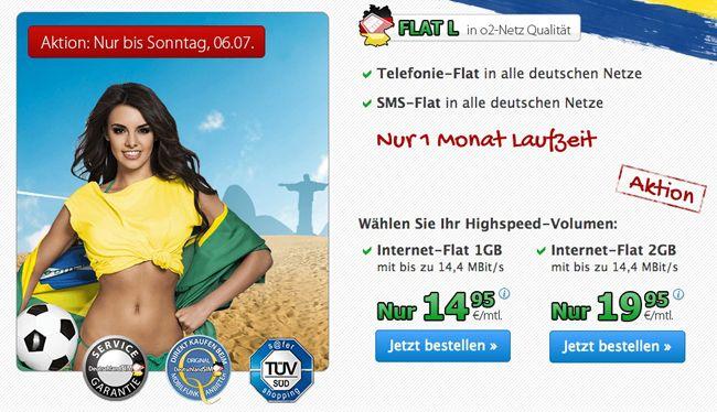 DeutschlandSIM Angebote DeutschlandSIM Flat L 1000 / L 2000 (Telefon , SMS  und Internet Flat) für 14,95€ / 19,95€ monatlich