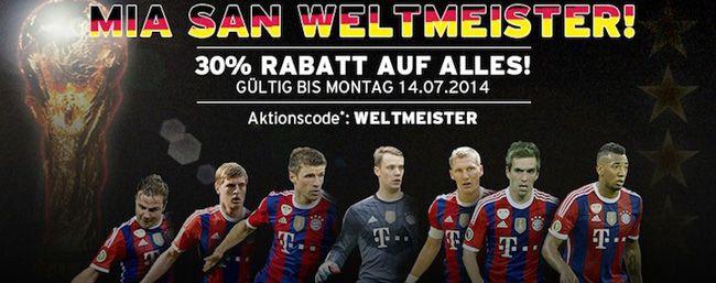 30% Rabatt auf (fast) ALLES im FC Bayern München Fanshop