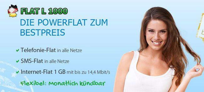 FLat L 1000 DeutschlandSIM Flat L 1000 (Telefon , SMS  und Internet Flat) für 14,95€ monatlich