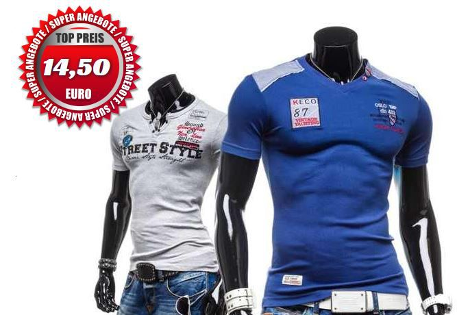 COMEOR   Kurzarm Herren V Neck Motiv T Shirt für je 14,50€
