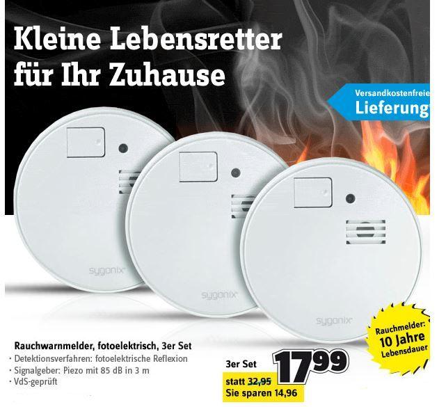 Feuer sygonix 43117Q    3er Set Rauchwarnmelder für inkl. Versand 17,99€