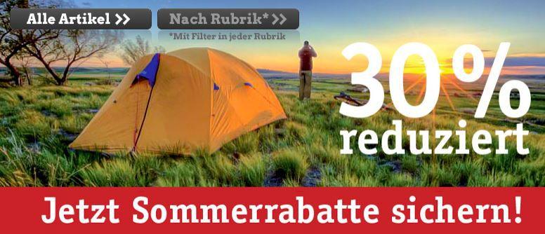 Globetrotter Sommer Schluß Verkauf mit 30% Rabatt auf Outdoorartikel von The North Face, Jack Wolfskin, Deuter .....