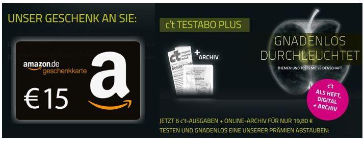 6 Ausgaben der c't dank 15€ Amazon Gutschein effektiv 4,80€
