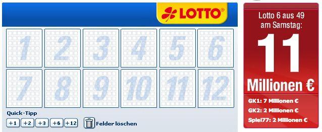 5€ Lotto Gutschein für Lottobay   6 Lottofelder für 1,60€