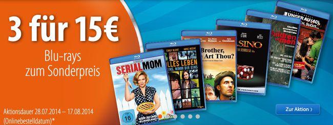 3 Blu rays für nur 15€ bei Müller
