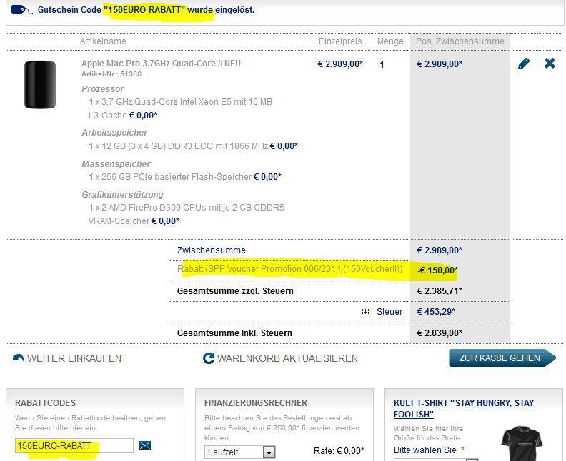 150€ Sofortrabatt auf qualifizierte Macs auch neue Modelle oder 100€ Rabatt auf MacBook Air