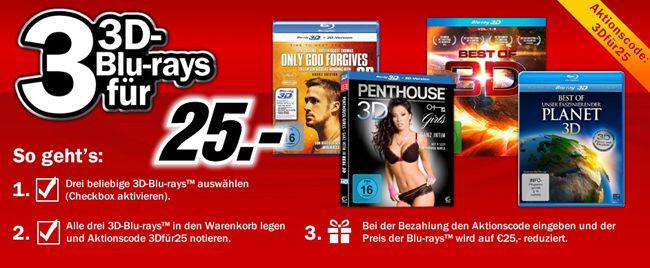 Media Markt 3D Blu rays 3 3D Blu rays für 25€ bei Media Markt