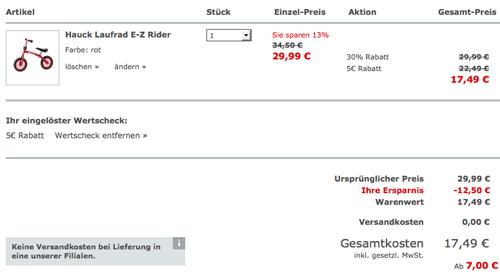 Hauck Laufrad E Z Rider für 17,49€ (statt 40€)