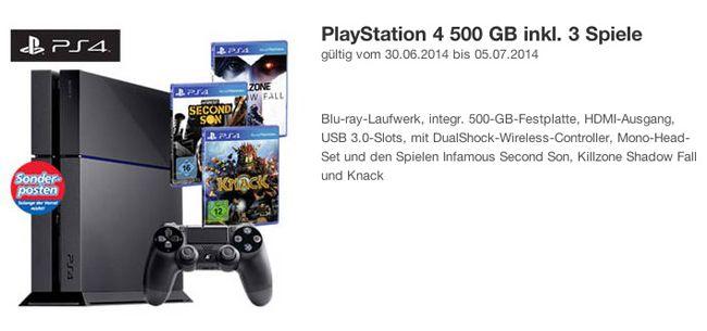 Playstation 4 bei Real Playstation 4 500 GB inkl. 3 Spiele für 387,99€ bei Real (nur für Rabattkauf Berechtigte mit Rabattschein)