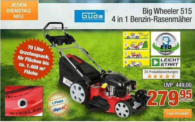 Plus4 Güde Big Wheeler 515   selbstfahrender Benzin Rasenmäher für 249,16€ statt 309€ dank 11% Gutscheincode auf alles   heute bei Plus.de