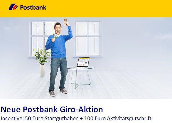 Postbank Giro plus Girokonto mit 50€ Startguthaben + 100€ Aktivitätsgutschrift   kostenloses Girokonto