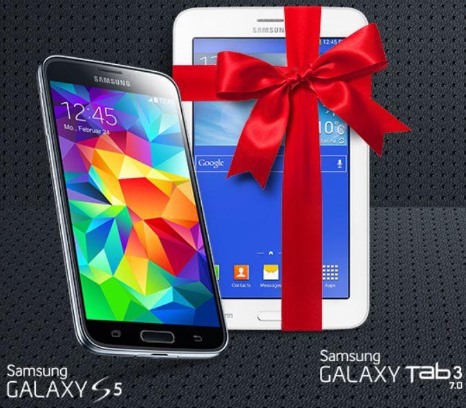 Info! Wechselbonus bei Samsung   wer ein GALAXY S5 kauft, bekommt ein Galaxy Tab3 7.0 geschenkt