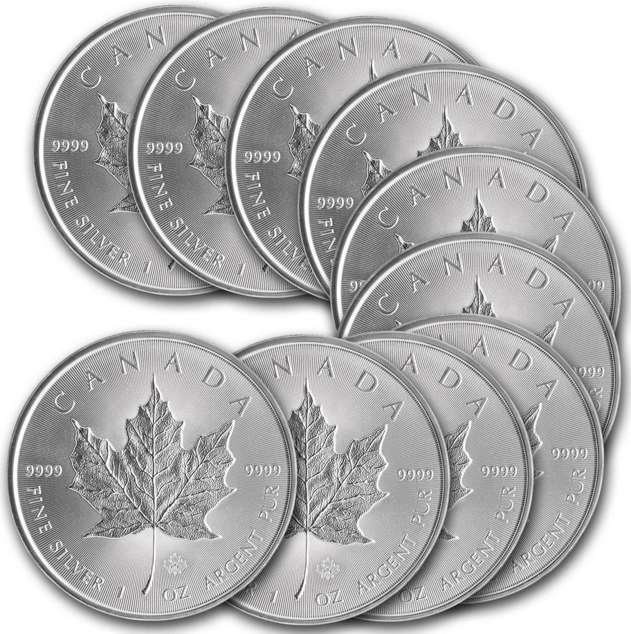 Silbermünze Canadian Maple Leaf, 1 oz.   10 Silbermünzen für 179€