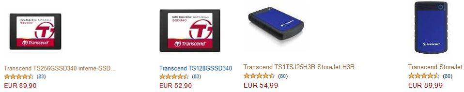 Jetzt bis zu 30% auf ausgewählte Transcend Produkte sparen   SSD, MediaPlayer und SD Karten günstig!