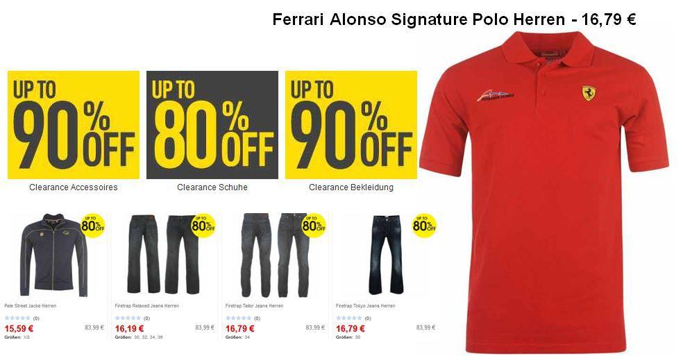 Herren Ferrari Alonso Polo Shirt für 16,79€ + mehr Knaller bei Sportsdirect