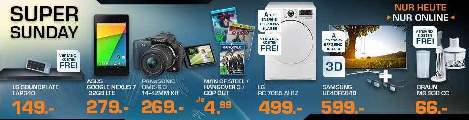 Sunday SAMSUNG UE40F6640   40 Zoll 3D TV für 599€ und mehr Saturn Super Sunday Angebote