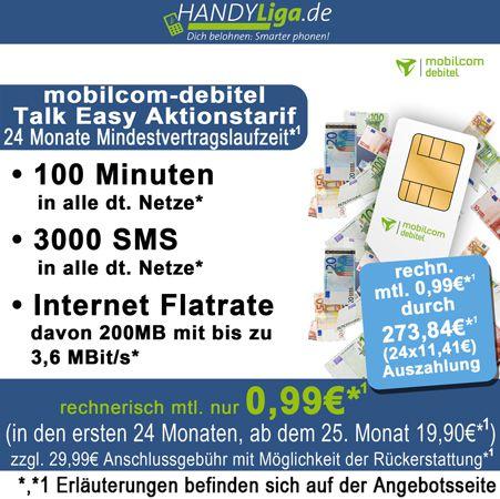 mobilcom debitel Talk Easy Tarif im D1 Netz (100 Frei Minuten, 3.000 Frei SMS, 200MB Internet) für nur 0,99€ monatlich