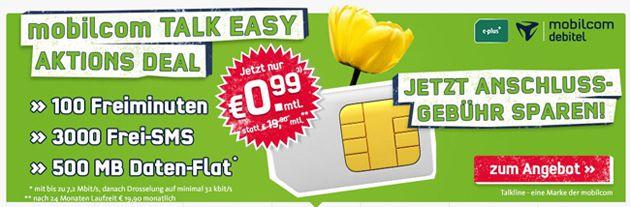 Talk Easy 100 mit 100 Minuten, 500MB Internet, 3000 SMS für nur 0,44€ pro Monat   Update