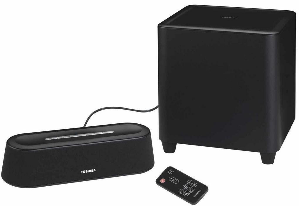 Toshiba SBM1W   Mini 3D Soundbar mit Subwoofer (60 Watt, 3,5mm Klinkenstecker) für 84,90€   Update!