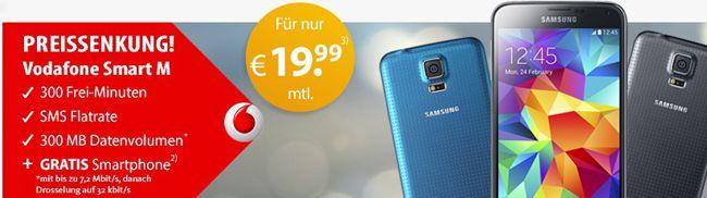TOP! Vodafone Smart M (300 Minuten + SMS Flat + 300MB Internet) mit TOP Smartphone für 20,03€ pro Monat
