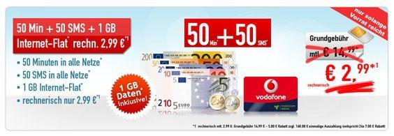 Vodafone Smart Surf Vodafone Smart Surf Tarif (50 Frei Minuten, 50 Frei SMS, 1GB Internet Flat) für effektiv 1,99€ monatlich   Update!