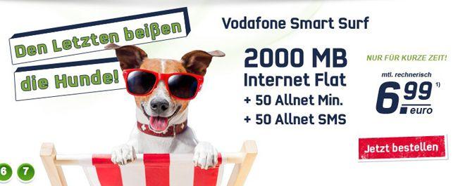 Vodafone Smart Surf Tarif (50 Frei Minuten, 50 Frei SMS und 2GB Internet) für effektiv 6,99€ monatlich