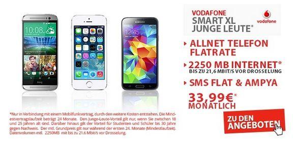 Vodafone Smart XL + Smartphone nach Wahl (Allnet , SMS  und LTE Internetflat) für nur 33,99€ monatlich
