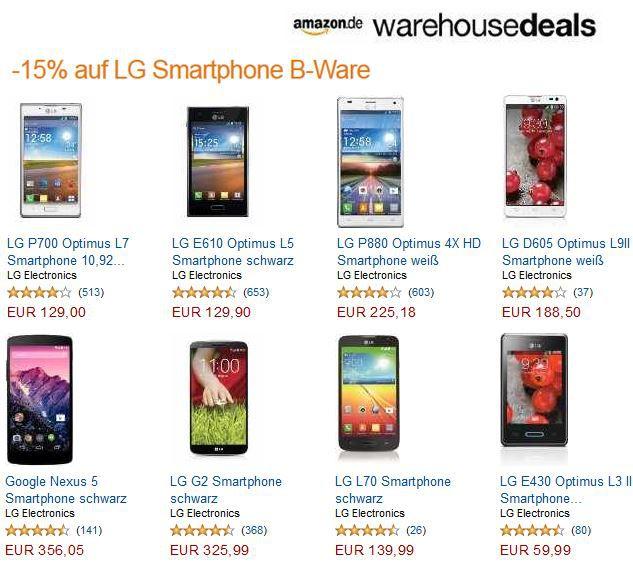 WHD LG Smartphones mit 15% Rabatt auf B Ware   in den Amazon Ware House Deals nur am Wochenende!