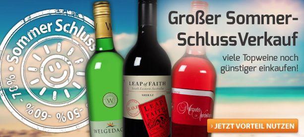 Weinvorteil: Sommer Schluss Verkauf + 15€ Gutschein mit nur 35€ MBW