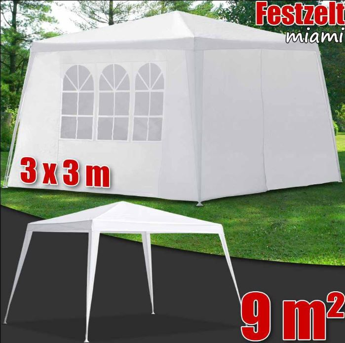 Pavillon miami   3x3Meter mit allen Seitenteilen in weiß für 29,90€