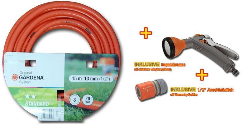 Gardena 15Meter Gartenschlauch mit Impuls Brause und Wasserstop Anschluss für 19,99€