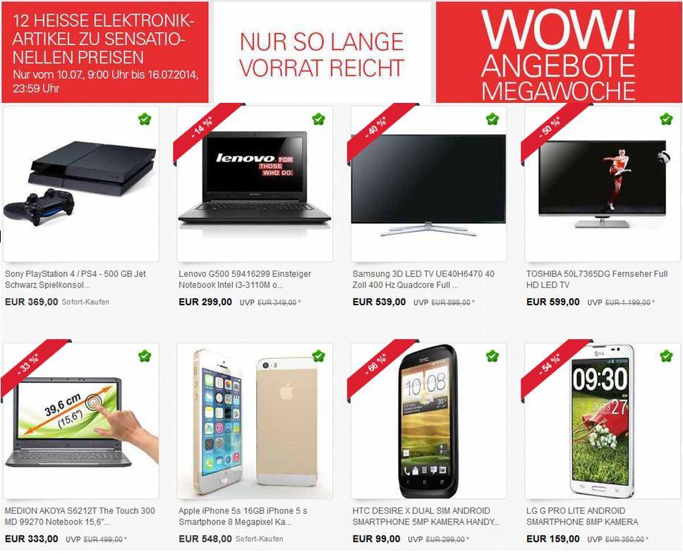 ebay wow7 TOSHIBA 50L7365DG   50Zoll TV für 599€ und mehr WOW! Angebote Megawoche