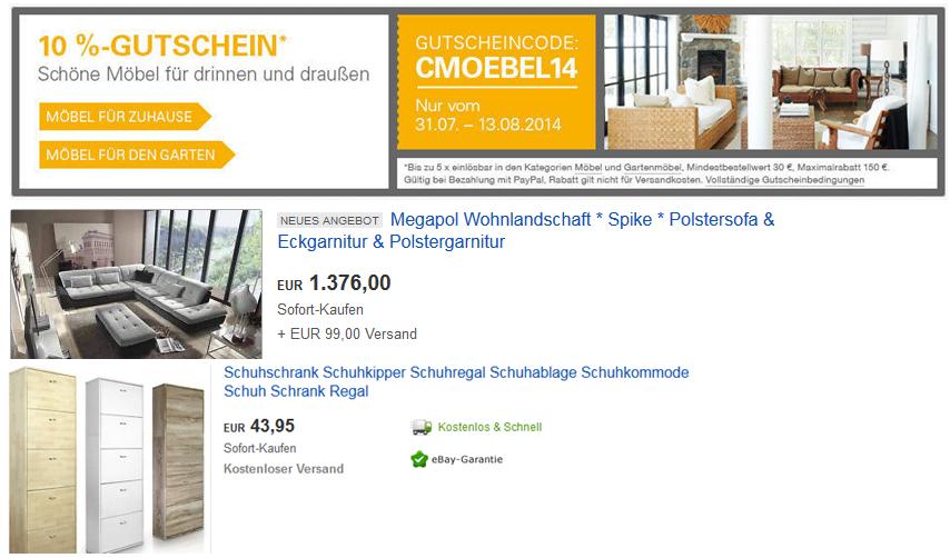 10% Rabatt auf Möbel für Wohnzimmer oder Garten @ebay   Update