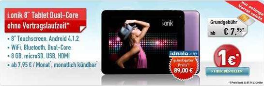 Vodafone All in XM ohne Laufzeit mit 8 Zoll WiFi Tablet i.onik im Wert von 84€ für effektiv 36,85€!   Update!