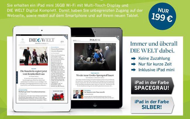iPad Mini mit Welt Abo KNALLER! iPad Mini 16GB (ohne Retina Display) + 2 Jahre Die Welt Digital Abo für 199€