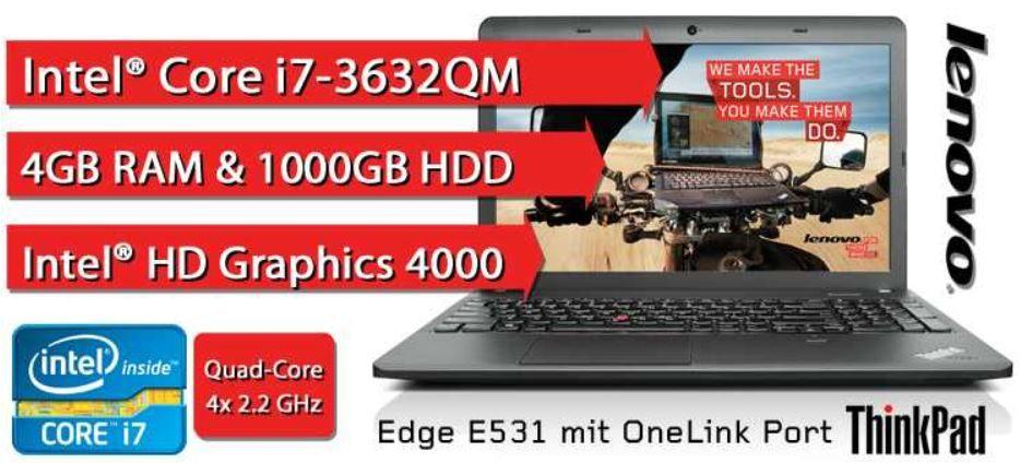 Lenovo ThinkPad Edge E531 N4IEXGE 15,6 Notebook mit Intel Core i7, 4GB, 1000GB für nur 499,99€