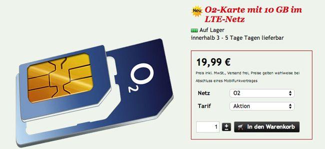 Knaller! o2 XL Tarif (10GB LTE Internet (!), Allnet Flat, SMS Flat und Auslands Leistungen) für effektiv 19,99€ im Monat