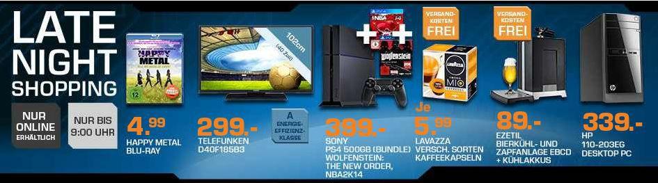 SONY PlayStation 4 + Wolfenstein + NBA 2K14 für 419€ und mehr Saturn Late Night Sale Angebote