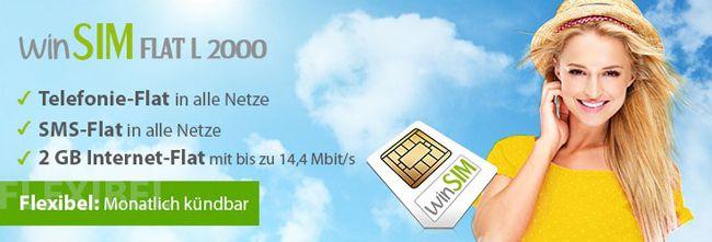 winSIM Aktion winSIM Flat L 2000 (Allnet Flat, SMS Flat, 2GB Internet) für 19,95€ monatlich