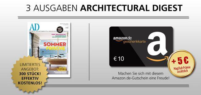3 Ausgaben Architectural Digest durch Amazon Gutschein mit effektiven Gewinn von 1,20€