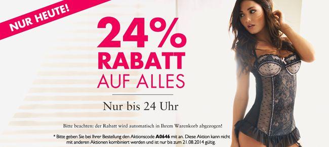 Beate Uhse Nur heute ganze 24% Rabatt auf ALLES (außer Sale) im Beate Uhse Online Shop