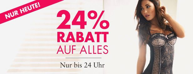 Nur heute ganze 24% Rabatt auf ALLES im Beate Uhse Online Shop