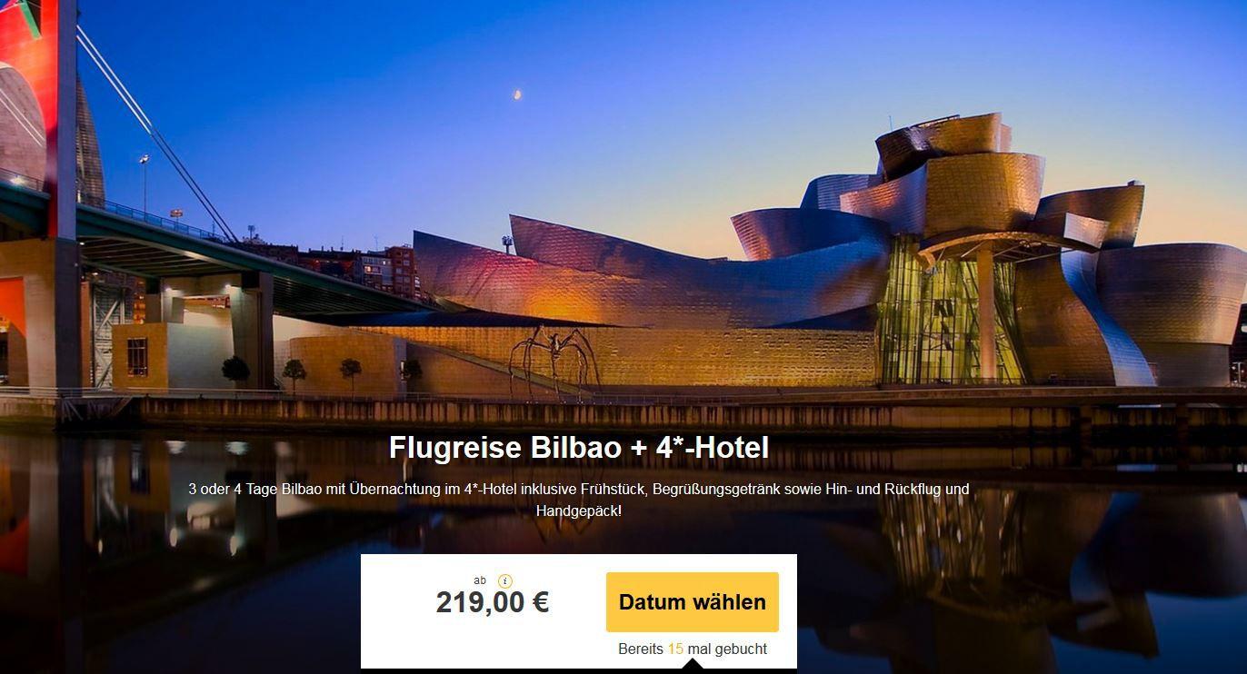 Geniale Bilbao Kurzreise mit Flug und 2 Übernachtungen im 4 * Hotel Holiday Inn ab 219€ p.P.
