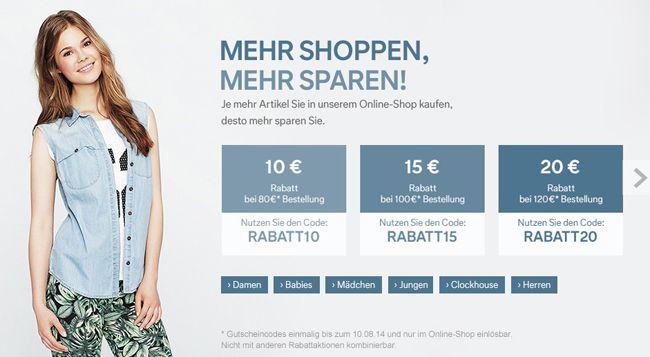 C&A Gutscheine mit bis zu 20€ Rabatt auf das gesamte Sortiment