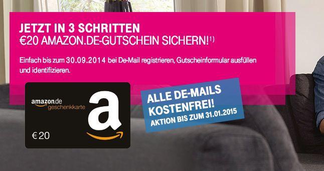 DE Mail Telekom Neue Aktion!  De Mail registrieren und 20€ Amazon Gutschein abstauben