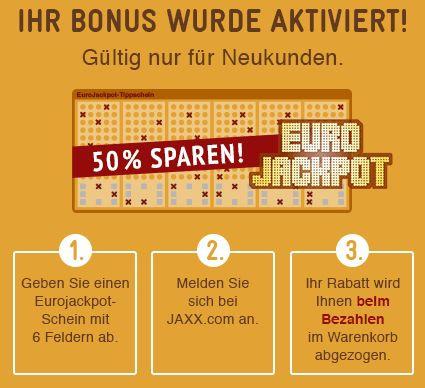 Eurojackpot Satte 50% Rabatt für Neukunden auf Eurojackpot Spielscheine bei Jaxx   ca. 43 Millionen Euro Jackpot wird erwartet!